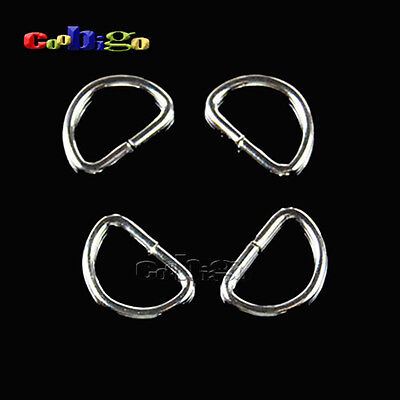 """50pcs 7/16""""(11mm) Silver Non Welded D Rings Webbing Handbags Leather Craft"""