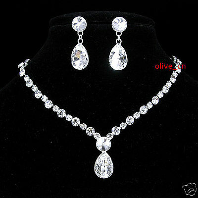 Wedding 10 Carat Drip Drop Crystal Prom Party Necklace Earrings Set