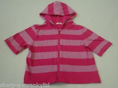 ☆♥ NEW LOOK Girls Pink Striped Short Sleeved Hooded Jacket Top Age 12-13 yrs ♥☆