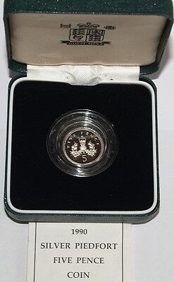 Royal Mint 1990 Silver Piedfort Proof 5p 5 Pence Boxed with COA - Size Change