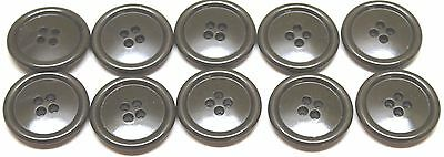 """WWII US Green Plastic Overcoat Buttons 1 1/8""""=28mm=45L lot of 10 B4227"""