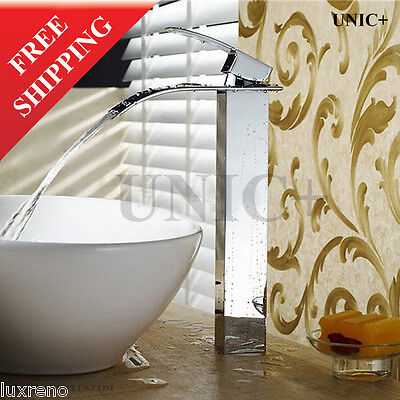 Bathroom Solid Brass Designer Waterfall Faucet Tap Mixer For Vessel Sink  BVF005
