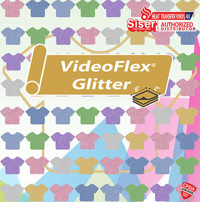 "Siser VIDEOFLEX GLITTER Heat Transfer Vinyl 15"" x 12"" (1 Foot) Select Your Color"