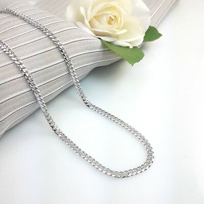 45cm White Gold Filled Curb Link Chain Necklace