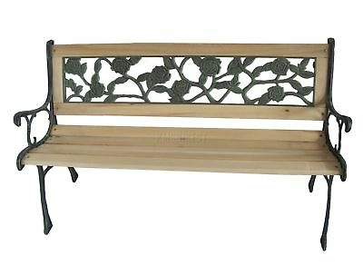 Wooden Outdoor Slat 3 Seater Garden Bench Seat Cast Iron Legs Rose Style Park