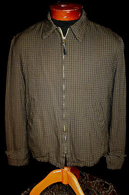 Vintage 1950's Brown Plaid Rayon Gabardine Zipper Jacket Size Medium+