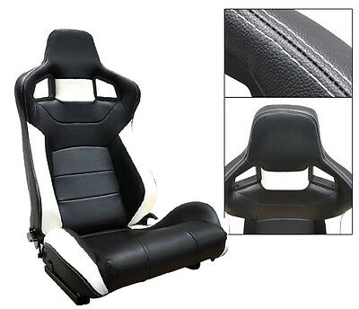 New 1 Pair Black & White Pvc Leather Reclinable Racing Seats For All Ford **