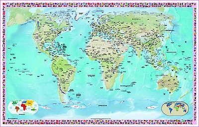 "Laminated Map Of The World Poster 36""X24"" Or A1 / Country Flags / Atlas"