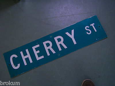 "Vintage ORIGINAL CHERRY ST STREET SIGN 36"" X 9"" WHITE LETTERING ON GREEN"