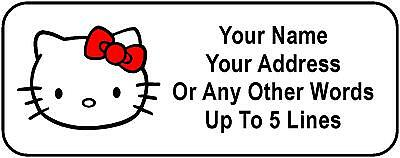 30 Hello Kitty Face Personalized Address Labels