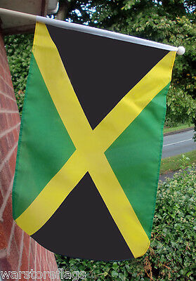 "JAMAICA HAND WAVING FLAG LARGE 18"" X 12"" WITH 24"" WOODEN POLE Caribbean flags"