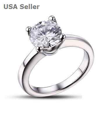 8mm Cubic Zirconia Round Cut Gem Stainless Steel Engagement Ring US Size 6-8 NEW