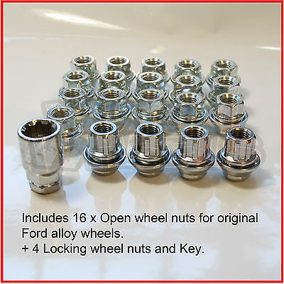 Alloy Wheel Nuts 16 + 4 Locking fits Ford Mondeo (to 11) Original wheels open