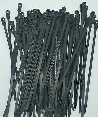"100 Perfect Vision Black Mounting Hole Cable Tie Zip Wraps 7"" Satellite/cable"