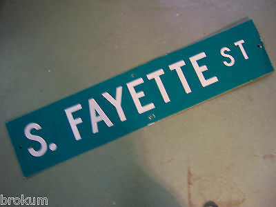 Vintage ORIGINAL S. FAYETTE ST STREET SIGN WHITE LETTERING ON GREEN BACKGROUND