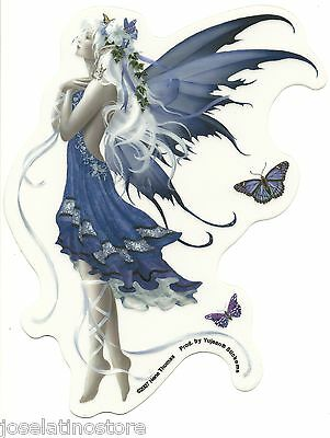 """Blue Nocturne Fairy Sticker Blue Fairy with Ivy and Butterflies 4.5""""x6"""" die-cut"""