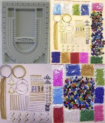 Huge Glass Beads & Findings Kit with Bead Board, Instructions, Chain, Pins,Hooks