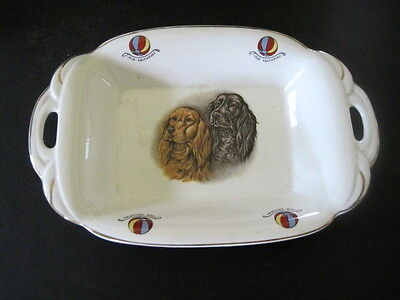 "Vintage 2 SETTERS  Bowl Dish England Portland Pottery ""OLD FAITHFUL"" HTF"