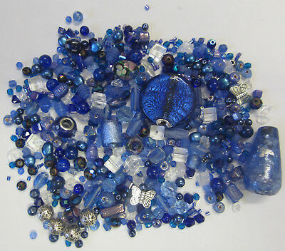 Dark Blue Bead Mix Foil Glass Silver Metal Pearl Lampwork & Mixed Assorted Beads
