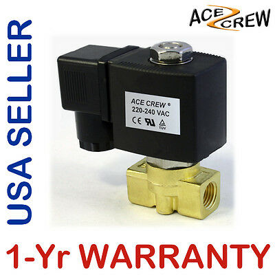 1/4 inch 220V-240V AC Brass Electric Solenoid Valve NPT Gas Water Air N/C
