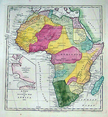 Extremely Rare 1794 Wilkinson Map of Africa Hand Colored Arabia Spain Madagascar