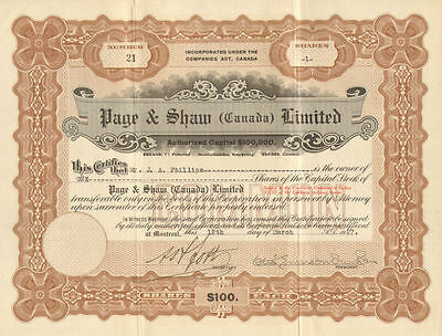 Page & Shaw Limited   Canada Candy stock certificate signed Otis Emerson Dunham
