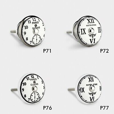 Shabby Chic Ceramic Vintage Clock Drawer Door Cupboard Knobs Handles Furniture