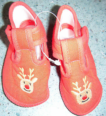 Infants Red Shoes With Reindeer Faces Only Size 1 Remaining