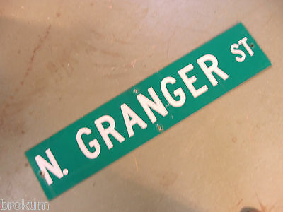 "Vintage ORIGINAL N. GRANGER ST STREET SIGN 42"" X 9"" WHITE LETTERING ON GREEN"