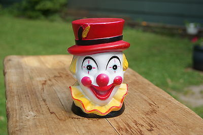 VINTAGE....COLORFUL CLOWN BANK.....HARD PLASTIC