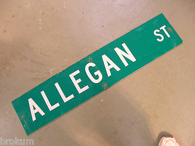 Vintage ORIGINAL ALLEGAN ST STREET SIGN WHITE LETTERING ON GREEN BACKGROUND