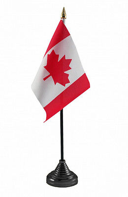 """CANADA TABLE FLAG desktop 6"""" x 4"""" with pole and base Ottawa Vancouver Canadian"""