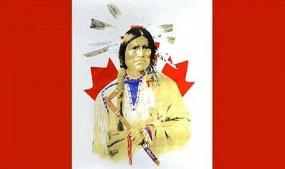 CANADA FLAG with Red Indian 5X3 FEET Canadian Native American apache Cheyenne