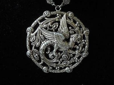 Antique  Silver Heavy Dragon  Rare Chinese ? Italy ?necklace 800 One Of A Kind !