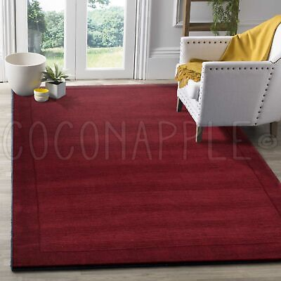 Oasis Thick Loomed Wool Red Modern Floor Rug (S) 115x165cm **FREE DELIVERY**