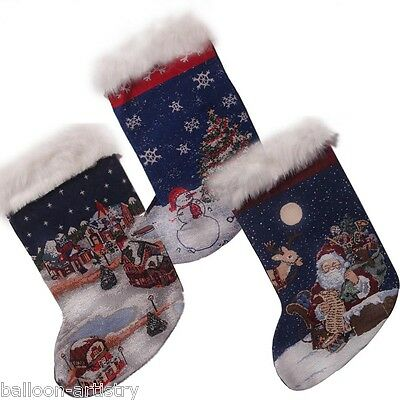 "18"" Classical Christmas Fibre Optic Embroidered Gift Stocking Decoration"