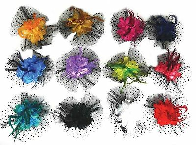 Women Girls Feather Flower Hair Clip Broach Fascinators Wedding Ascot Party
