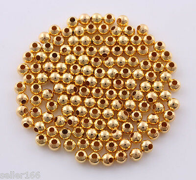 600 Pcs 4mm Gold Plated Spacer Findings Loose Beads Charms Free shipping