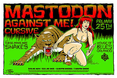 Mastodon - Against Me - House Of Blues - Orlando - 2007 - Tour Poster - Stainboy