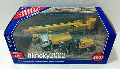 Siku Super 1814 1:87 Yellow Construction Site Transporter Excavator Crane Set