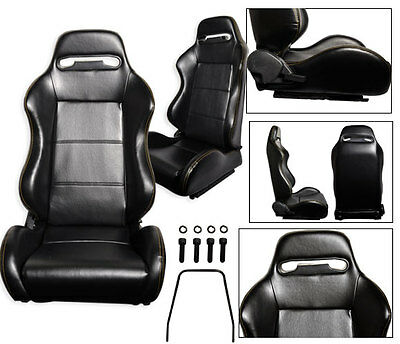 New 1 Pair Black Leather + Yellow Stitch Racing Seats All Ford ****