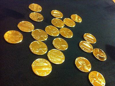 24 karat gold plated-1 PENNY Genuine Pure 24 K 7 mils Gold layered 1 cent .