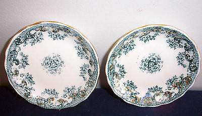 2 Unknown Pattern By New Wharf Pottery ? Flow Blue ? Butter Pats