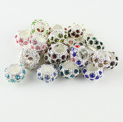 FASHION CRYSTAL SILVER EUROPEAN BIG HOLE SPACER CHARM LOOSE BEADS FINDINGS