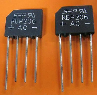 10pcs KBP206 KBP-206 2A 600V Single Phases Diode Rectifier Bridge Single 4pin