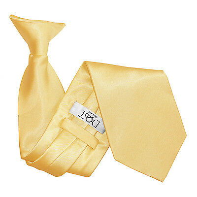 DQT Satin Plain Solid Pale Yellow Waiter Security Funeral Clip On Tie