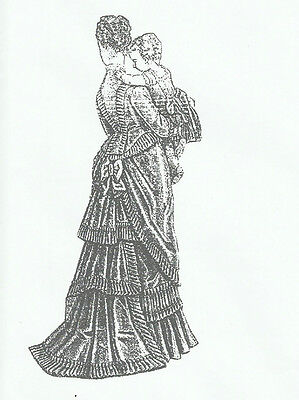 "1875 Dress pattern for antique French Fashion doll size 12-16 17-18 21-22"" #133"