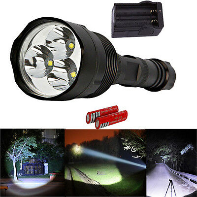 New 3800 Lumen 3x CREE XM-L T6 LED Flashlight 5 Mode + 18650 battery + Charger