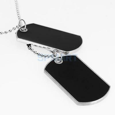 PERSONALISED Engravable Blank Double MILITARY ID DOG TAGS CHAIN Pendant Necklace