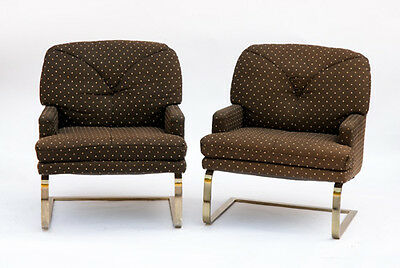 Pair of Vintage Selig Lounge Chairs In Origianl Fabric